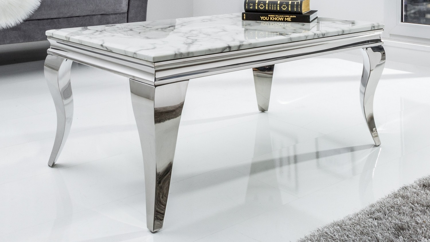 Table de salon baroque design rectangle marbre blanc Zita - GdeGdesign
