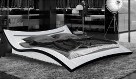 Lit moderne 160x200 cm blanc et noir LEDs - Eden
