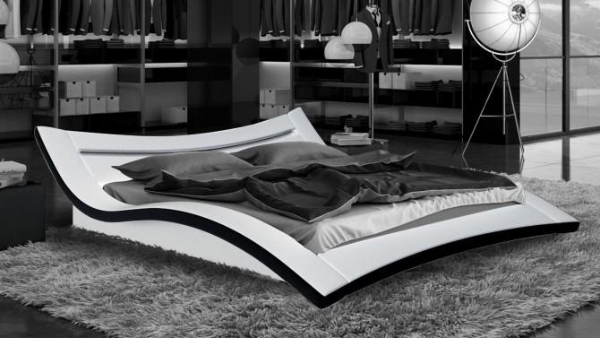 Lit incurvé en simili blanc et noir 160x200 cm avec LEDs Eden - GdeGdesign