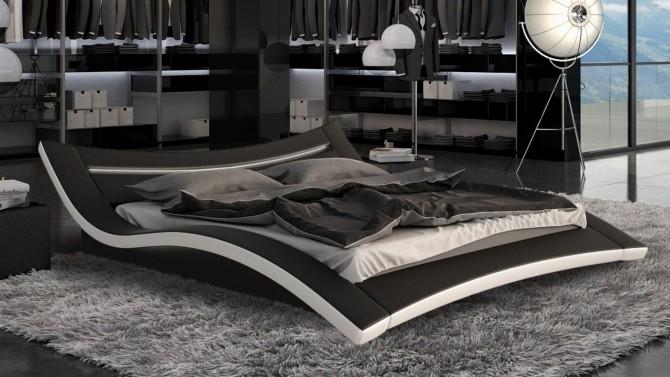 Lit simili cuir noir et blanc avec LED 180x200 cm Eden - GdeGdesign