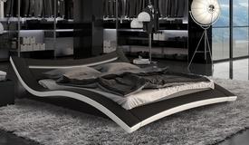 Lit moderne 160x200 cm noir et blanc LEDs - Eden