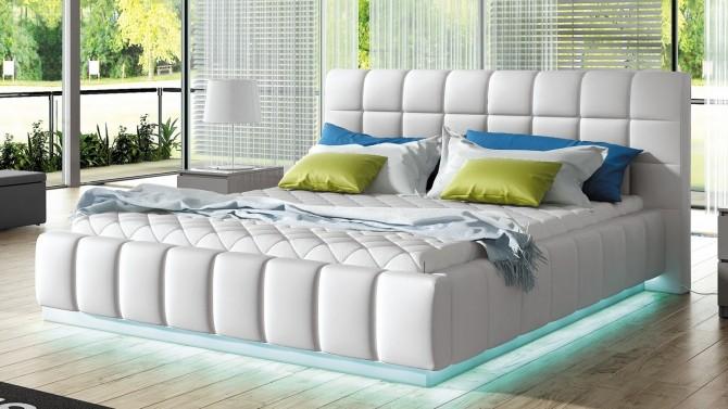 Lit blanc lumineux 160x200 cm simili cuir - Etor