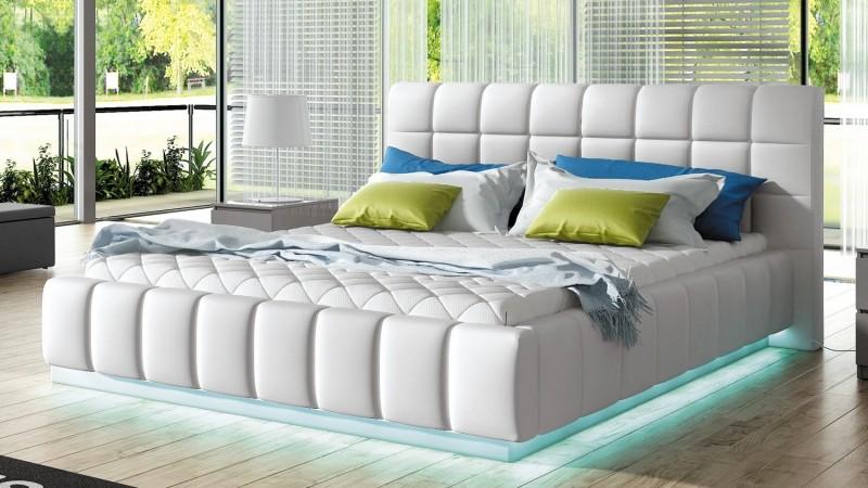 lit design simili cuir blanc avec clairage led etor. Black Bedroom Furniture Sets. Home Design Ideas