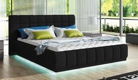 Lit simili cuir noir 160x200 cm avec LED - Etor