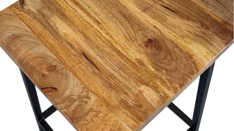 Tabouret de bar industriel bois de manguier et métal Ali