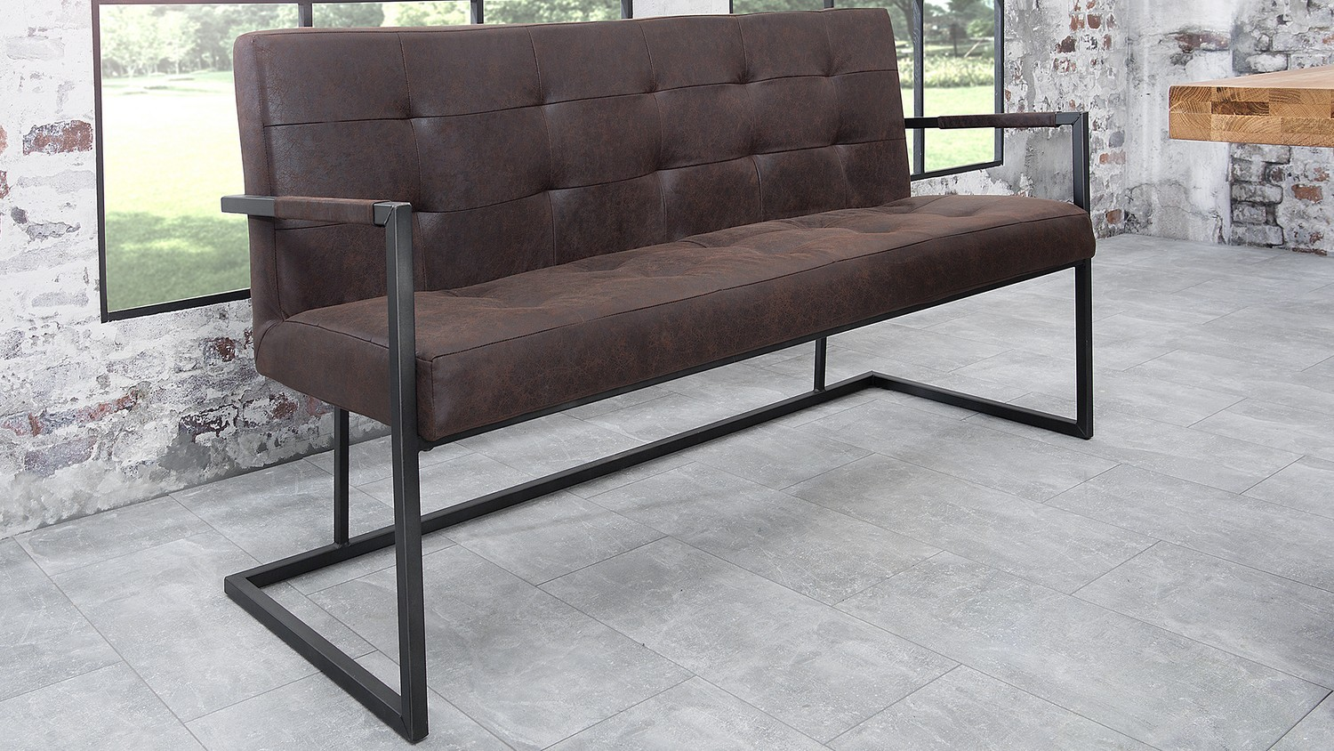 Banc Industriel Simili Cuir Marron Aspect Vieilli Herbod Gdegdesign