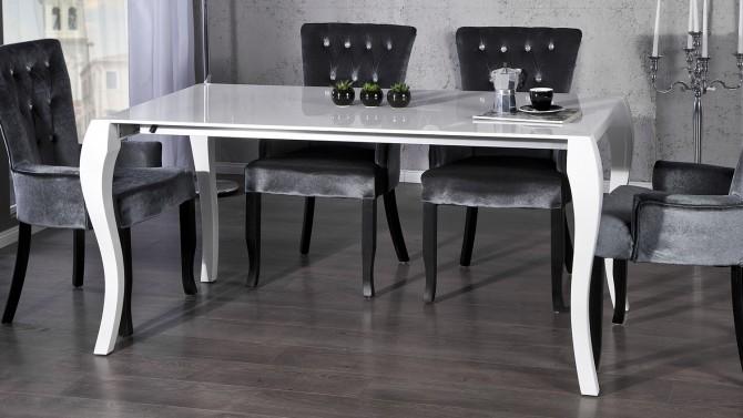Table à manger baroque laquée blanche - Delia