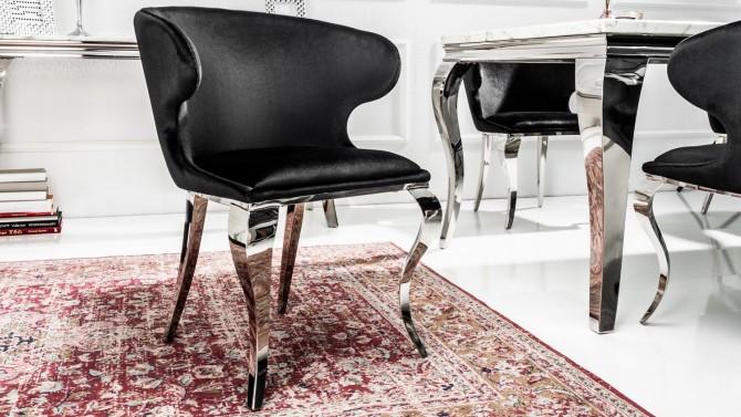 Chaise baroque à accoudoirs velours noir - Zita