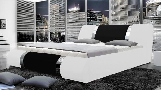Lit blanc et noir design 180x200 cm - Spencer
