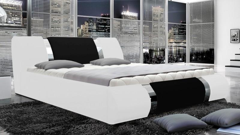 lit moderne 160x200 en simili cuir blanc et noir spencer. Black Bedroom Furniture Sets. Home Design Ideas