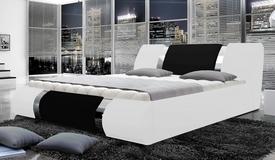 Lit simili cuir blanc et noir 160x200 cm - Spencer
