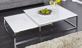 Table basse design gigogne blanche - Wim