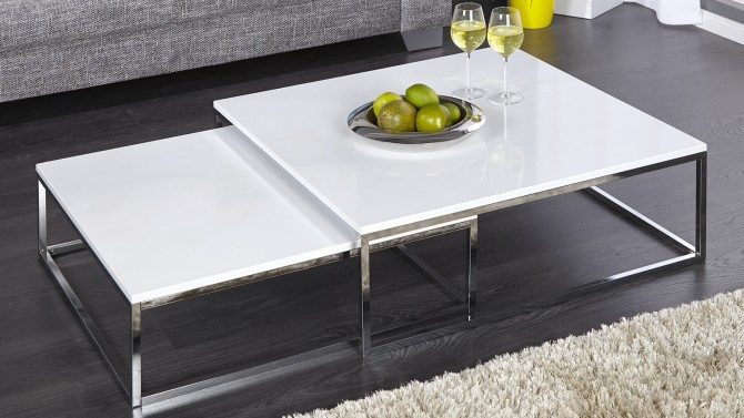 Grande table de salon carrée gigogne laquée blanche Wim - GdeGdesign