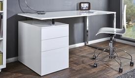 Bureau design blanc avec caisson - Cole