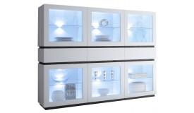 Vitrine 6 portes + 3 tiroirs blanc mat LED - Ivo