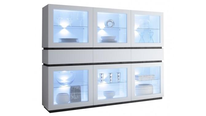 Vitrine LED 4 portes + 2 tiroirs blanc mat - Ivo