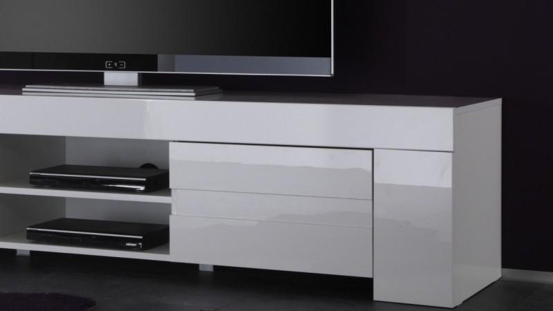 Banc Tv Design 2 Portes Avec Etagere Laque Blanc Konrad Gdegdesign