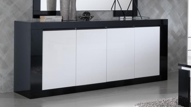 Bahut design 4 portes bicolore et laqué - Varsovie
