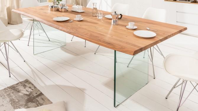 Table à dîner rectangulaire bois et verre - Jaden