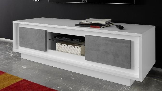 Meuble TV 2 portes béton laqué blanc mat - Dov