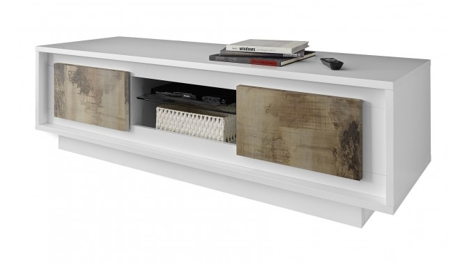 Meuble télé laqué blanc mat 2 portes bois clair Brann - GdeGdesign