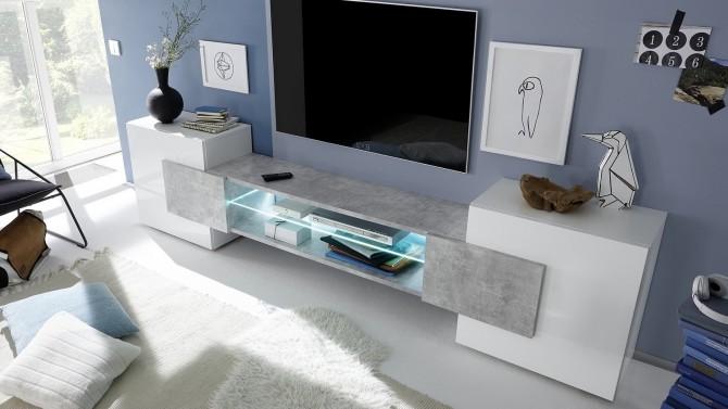 Meuble TV lumineux béton et laqué blanc - Oman