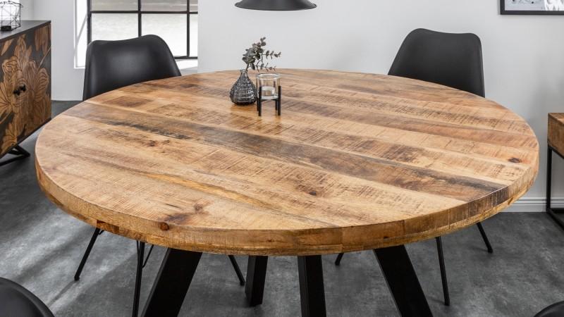 Table A Manger Ronde En Bois De Manguier Massif Davis Gdegdesign