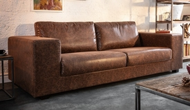 Canapé 3 places simili aspect cuir vieilli - Harper