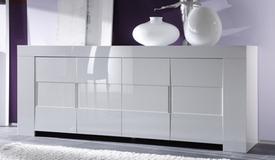 Bahut design laqué blanc 4 portes - Konrad