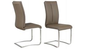 Chaise design pied métal brossé - Milano