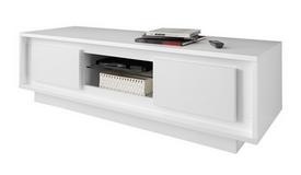 Banc TV laqué blanc mat 2 portes - Vasco