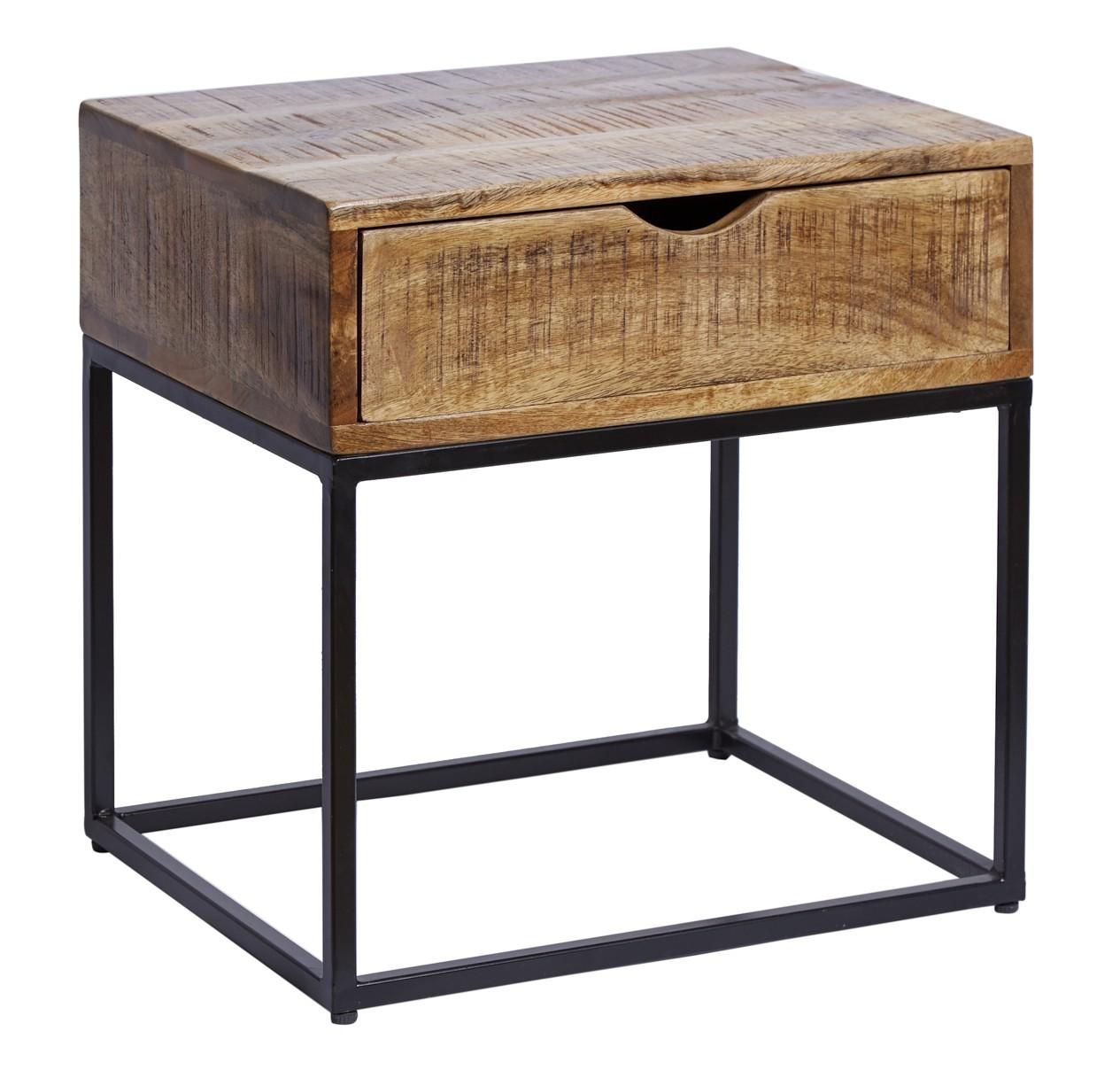 Petite Table De Nuit Bois table de nuit d'appoint industrielle bois de teck reece