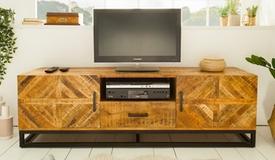 Meuble télévision industriel en bois - William