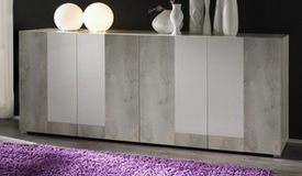 Buffet design 4 portes blanc laqué et bois - Hazel
