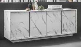 Buffet 4 portes design marbre blanc - Ercole