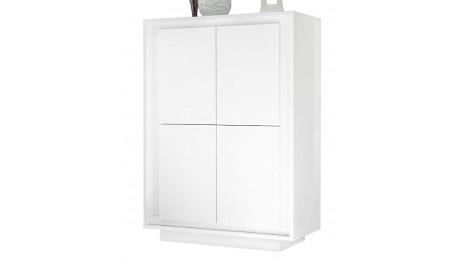 Buffet haut moderne laqué blanc mat - Vasco