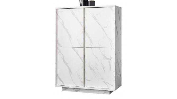 Bahut haut 4 portes marbre blanc - Ercole