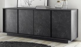 Bahut design marbre noir 4 portes - Ercole