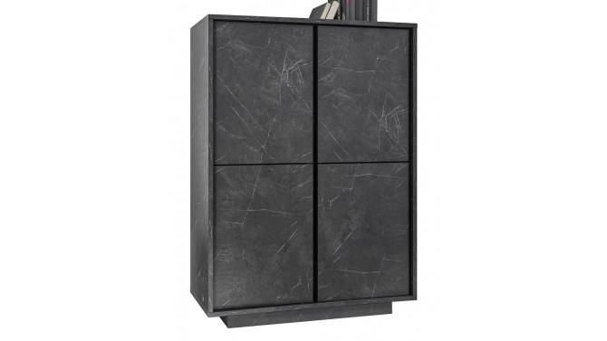 Buffet haut décor marbre noir 4 portes - Ercole