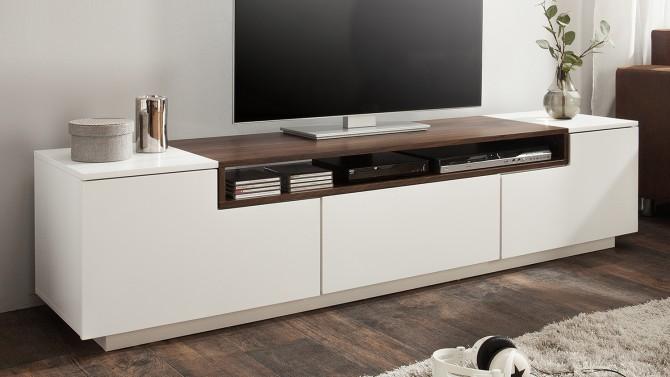 Meuble TV design laqué blanc et bois - Kigali