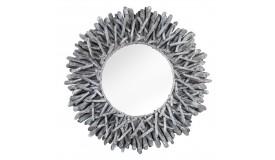Miroir bois flotté gris moderne rond - Roy