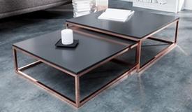 Table basse design gigogne cuivre et anthracite - Wim