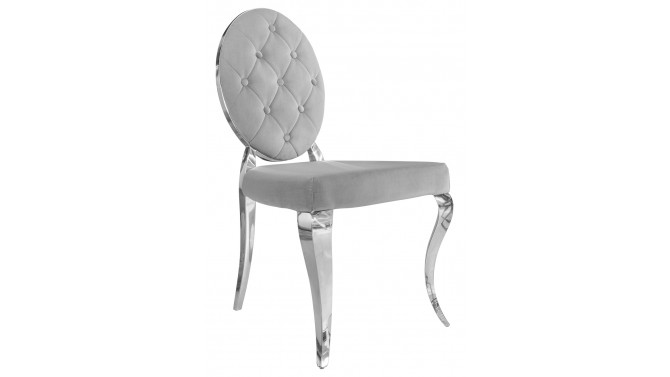 Chaise design baroque médaillon gris - Zita