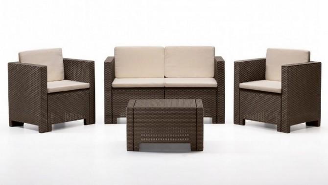 Salon de jardin 2+1+1 + table - Orlando