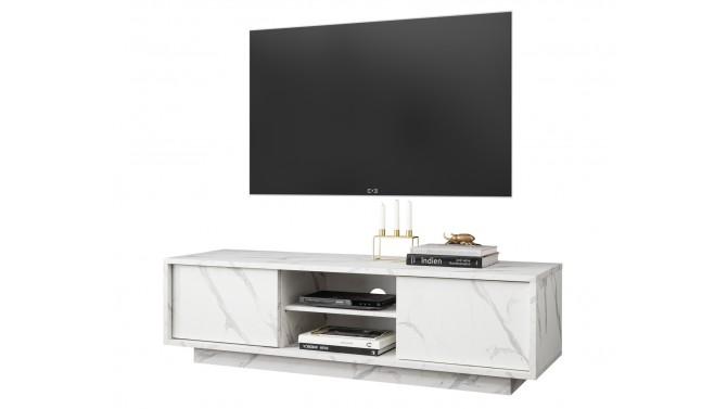 Meuble TV design décor marbre blanc - Ercole