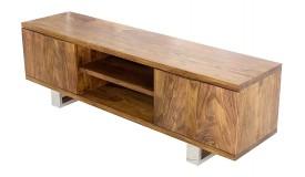 Meuble TV 2 portes bois massif d'acacia - Ursel