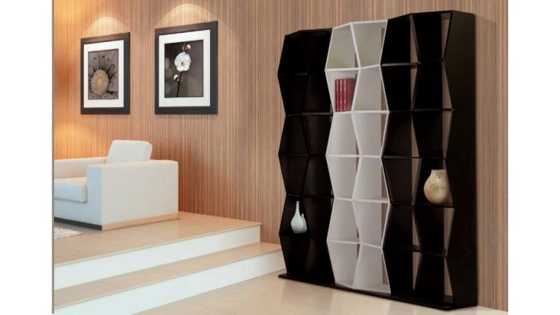 Bibliothèque Jann en bois de couleur avec grands casiers - GdeGdesign