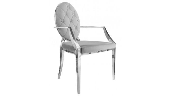 Chaise grise accoudoirs baroque - Zita