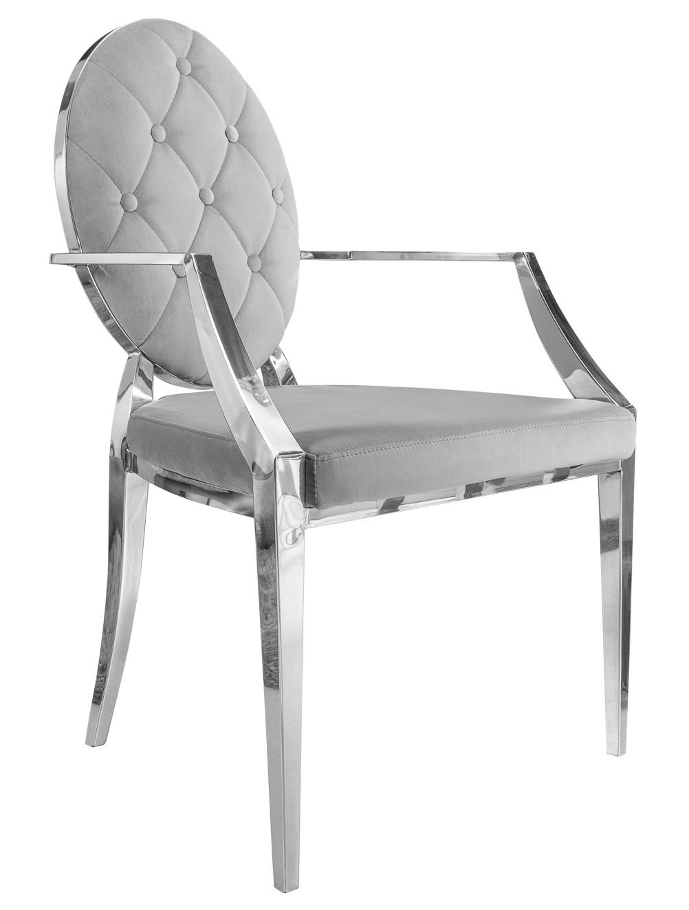 Chaise baroque à accoudoirs en velours gris Zita - GdeGdesign