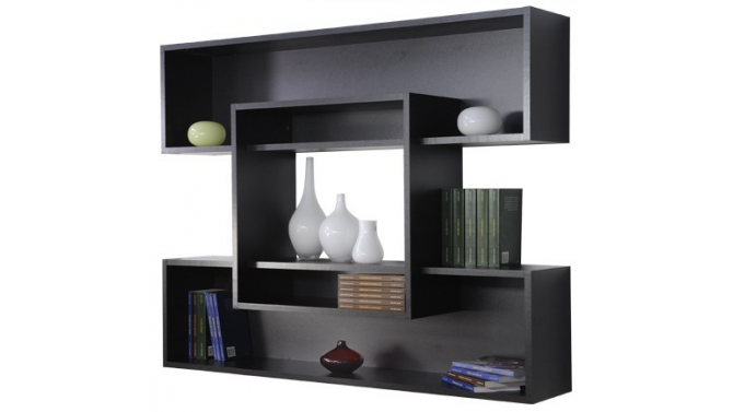 tag re suspendue noire rayan avec grands casiers de rangement gdegdesign. Black Bedroom Furniture Sets. Home Design Ideas